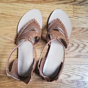 Aldo Super Cute Tan Flats Zip Back Sandals SZ 11